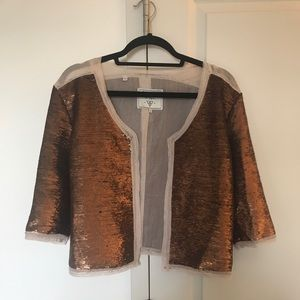 Guess Bronze Gold Sequin Blazer Jacket Size S